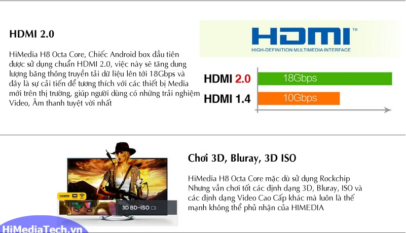 Android TV box Himedia H8 Octa Core chơi 3d, Bluray
