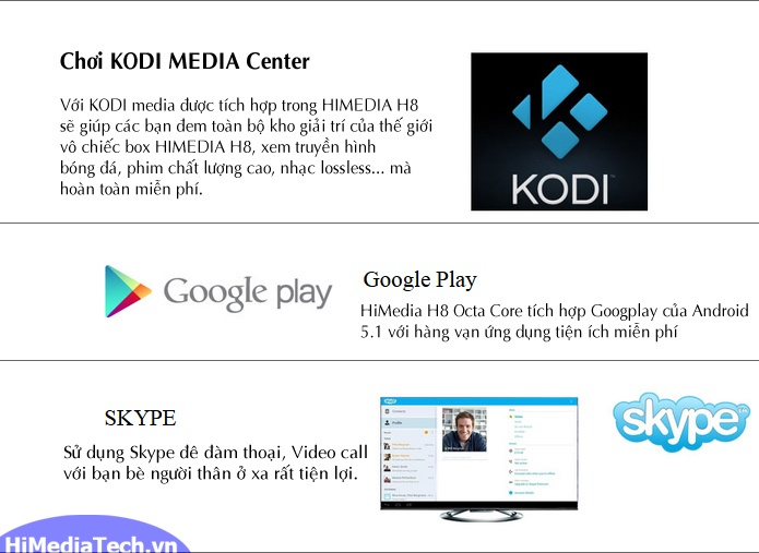 Android TV box Himedia H8 Octa Core chơi Kodi