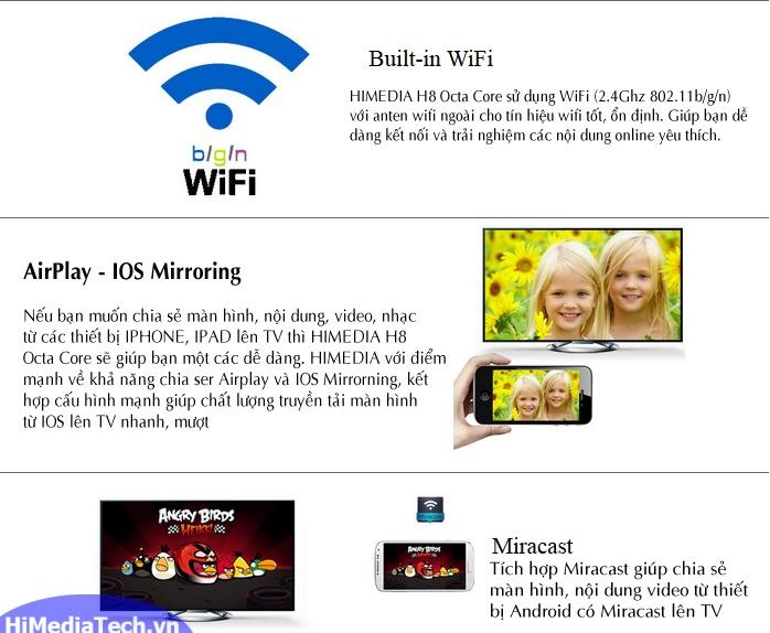 Android TV box Himedia H8 Octa Core kết nối không dây