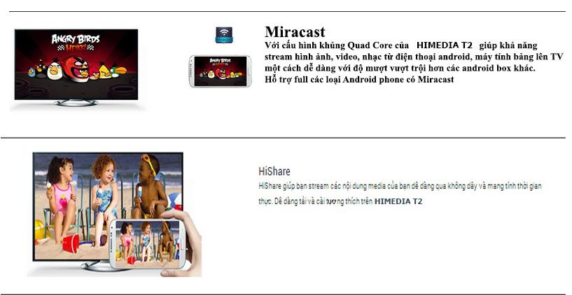 Android TV Box Himedia T2 Miracast