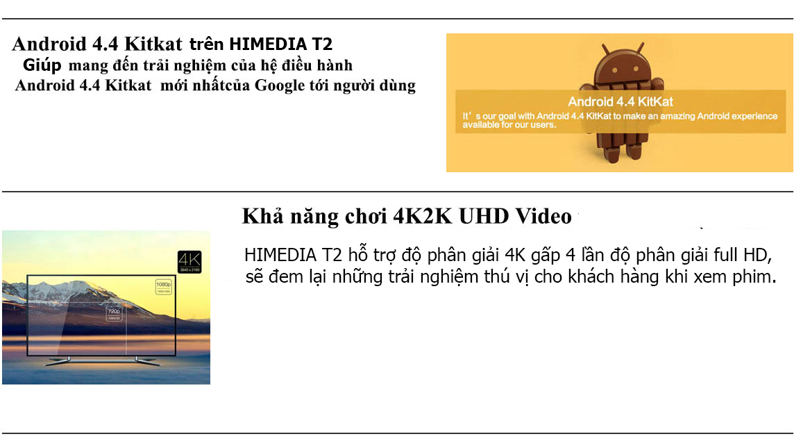 Android TV box Himedia T2 Android 4.4, chơi 4K
