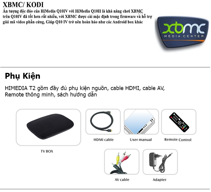 Android TV Box Himedia T2 Phụ kiện