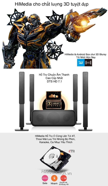 Android TV Box Himedia Q10 hỗ trợ 3D, âm thanh HD 7.1