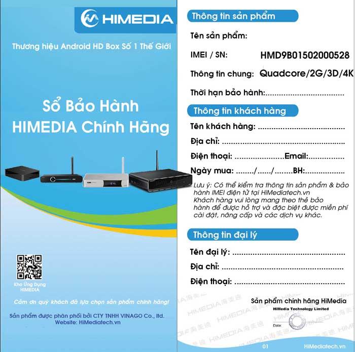 Sổ bảo hành Android TV box Himedia M3