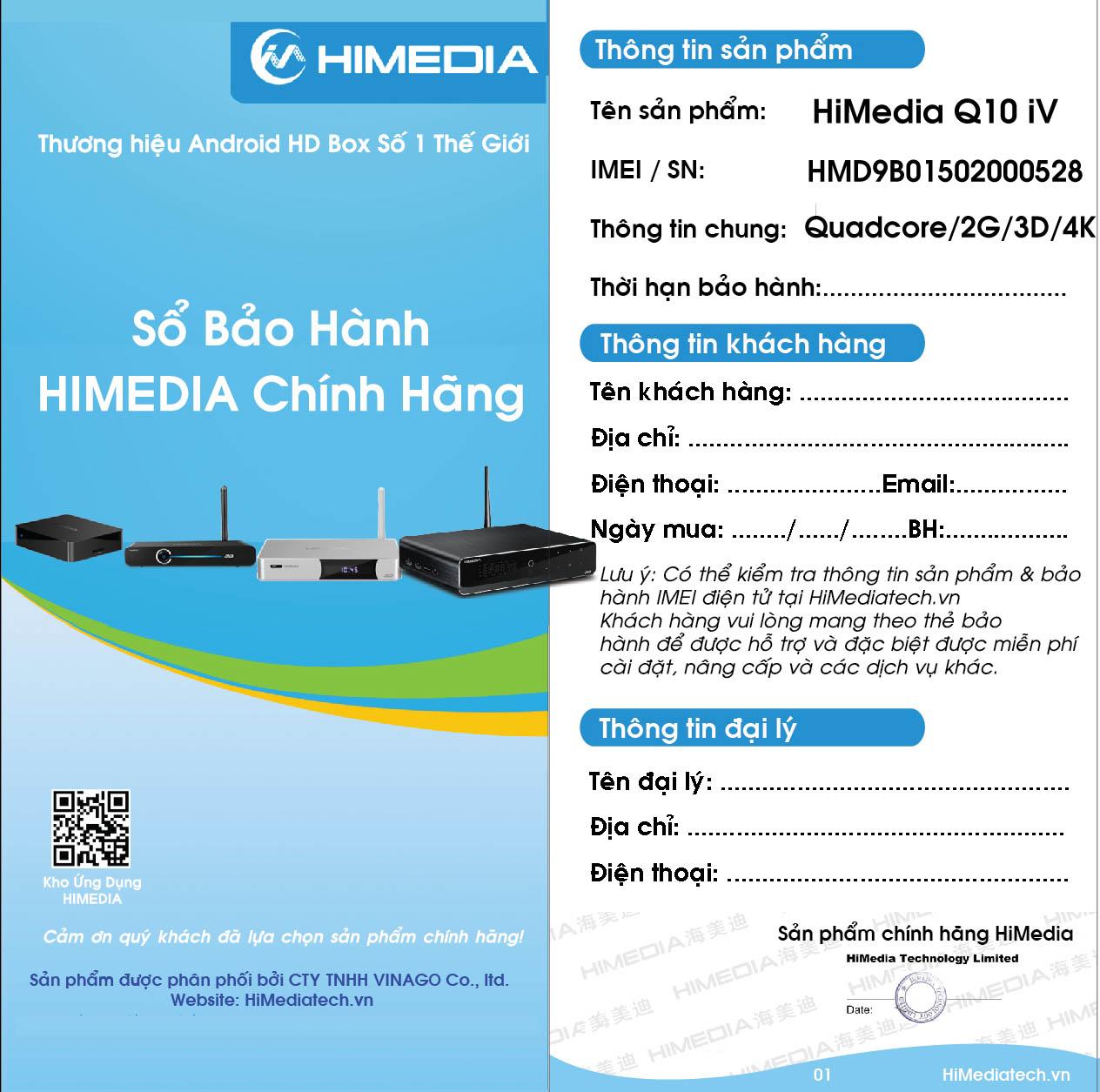 Sổ bảo hành Android TV box Himedia H8 Octa Core